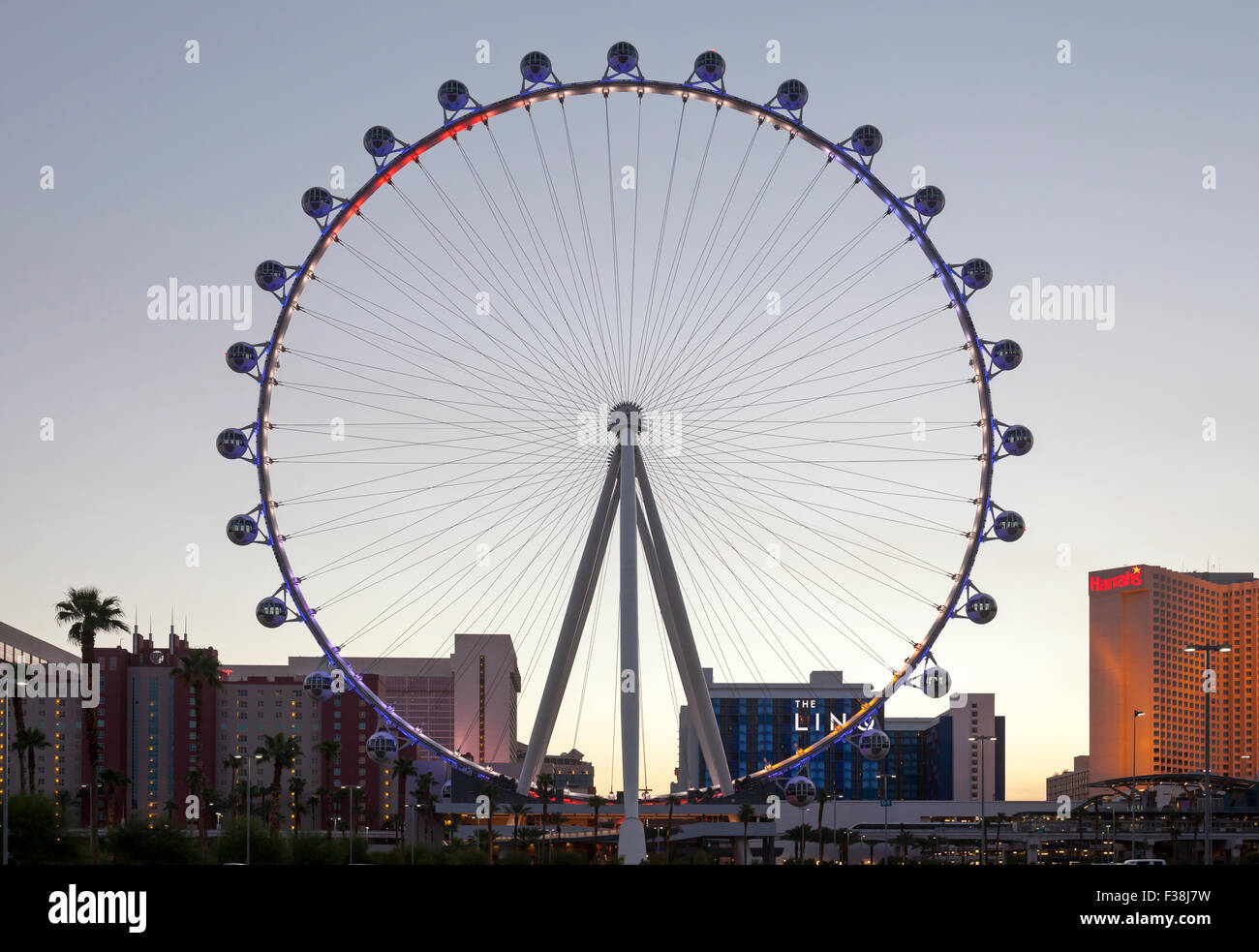 An evening view of the High Roller Ferris Wheel in Las Vegas, Nevada. Stock Photo