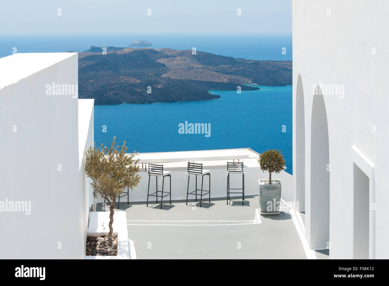 View onto the South Aegean from Oia on Santorini - Stock Image