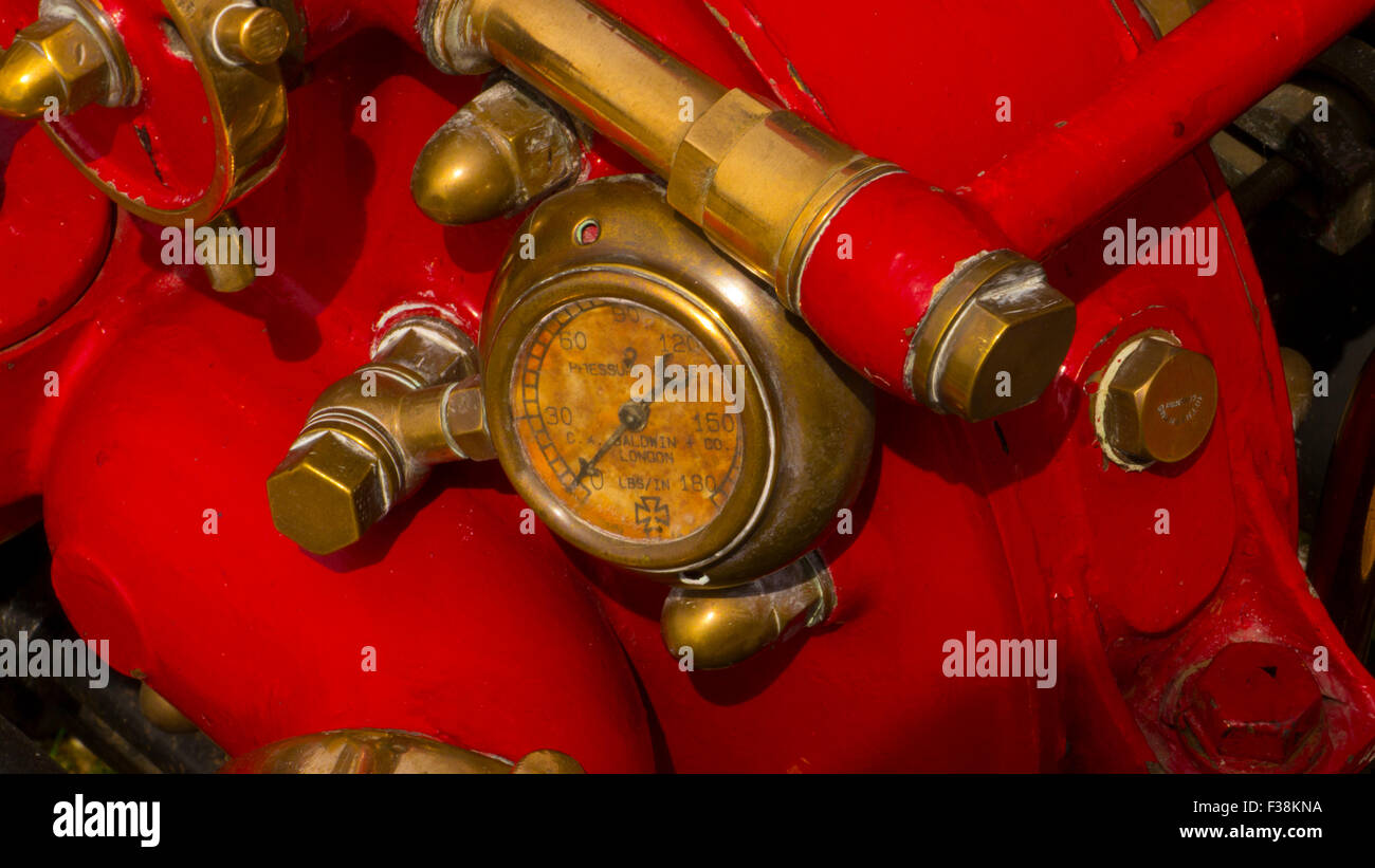 Close up of Fire Pump Pressure Gauge Photographed at the Odiham Fire Show 2015 - Stock Image