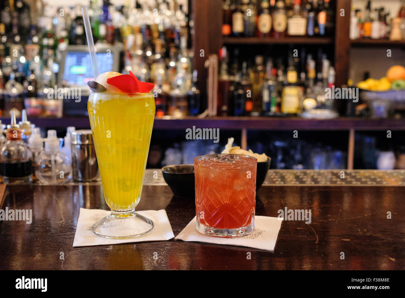 Cocktails, Tales and Spirits bar, Amsterdam, Netherlands, Europe - Stock Image