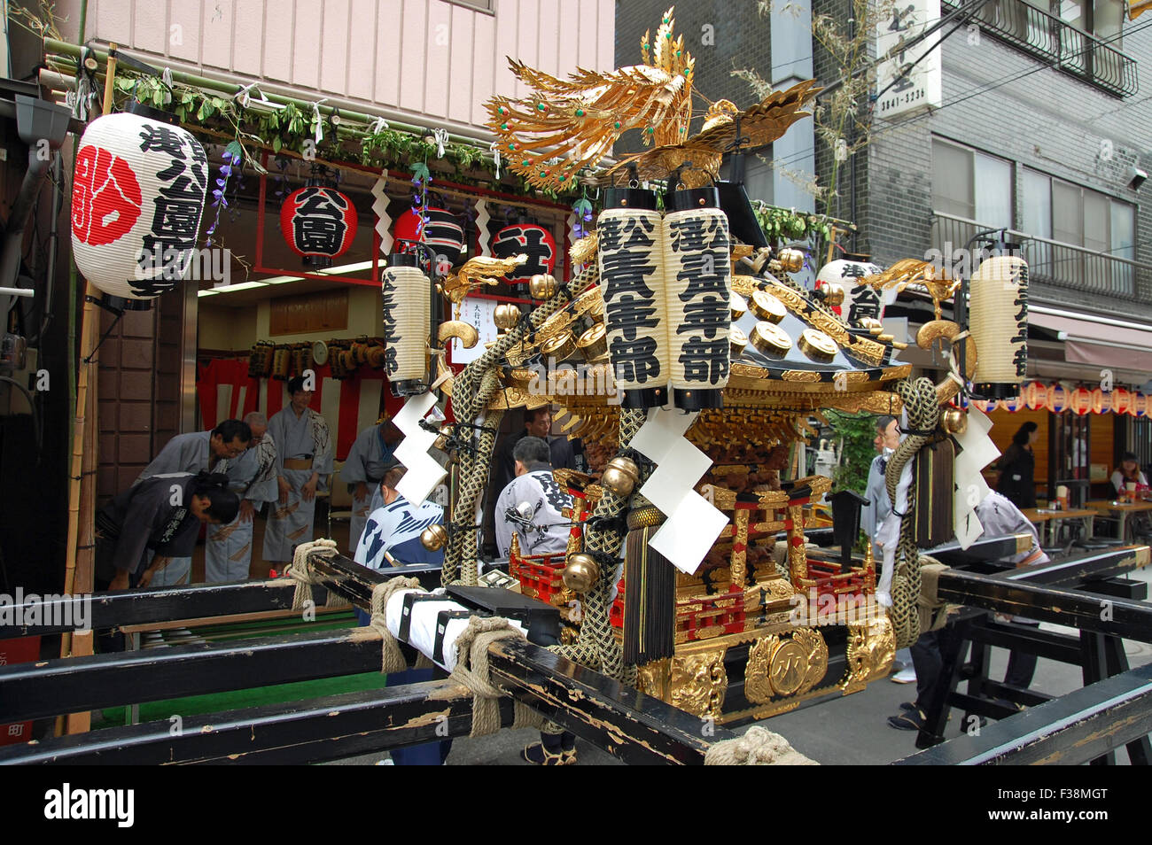 Mikoshi placed during the Sanja Matsuri Festival in the Asakusa Ward of Tokyo, Japan. - Stock Image