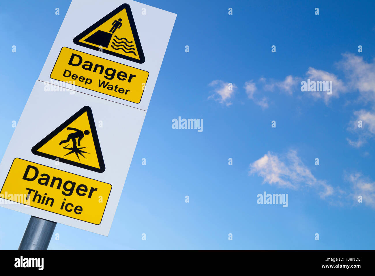 Sign showing danger of deep water and thin ice - Stock Image