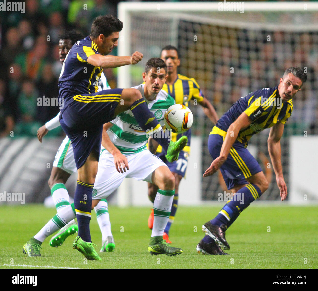 Glasgow, Scotland. 01st Oct, 2015. Europa League. Celtic versus Fenerbahce. Ozan Tufan steals the ball away from - Stock Image