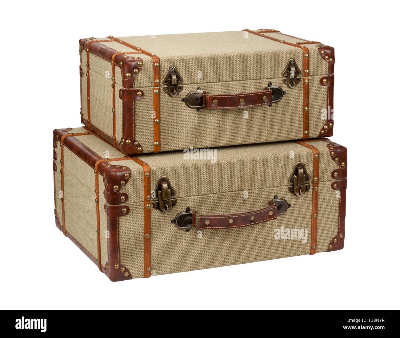 Two Deco Wood Burlap Suitcases. - Stock Image