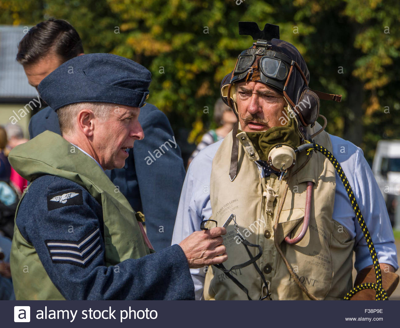 Duxford Battle of Britain 2015 Pilot Airman and 1940's style England UK - Stock Image