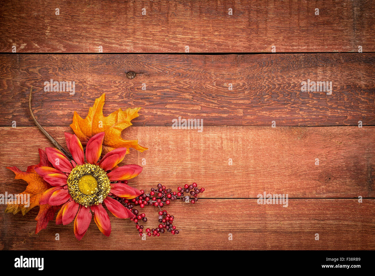 Grunge Red Barn Wood Background With Colorful Fall