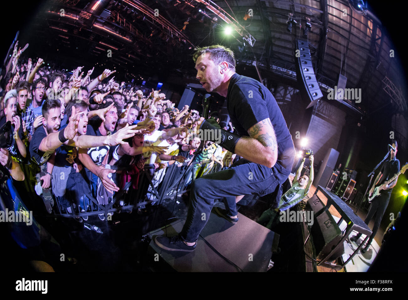 Milan Italy. 30th September 2015. The American melodic hardcore band RISE AGAINST performs live on stage at the - Stock Image
