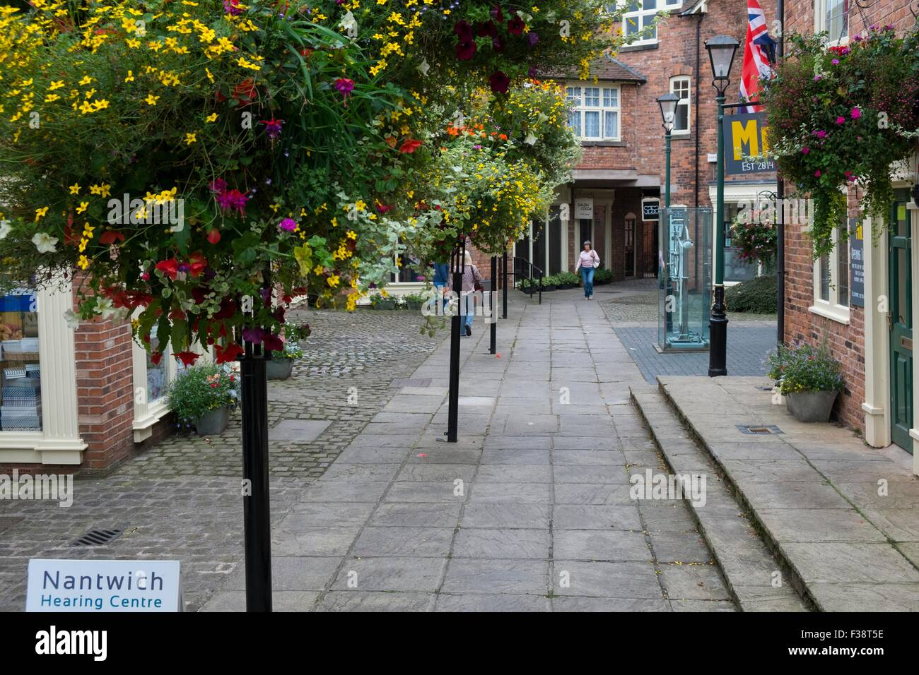 Town Centre hanging baskets, Nantwich. - Stock Image
