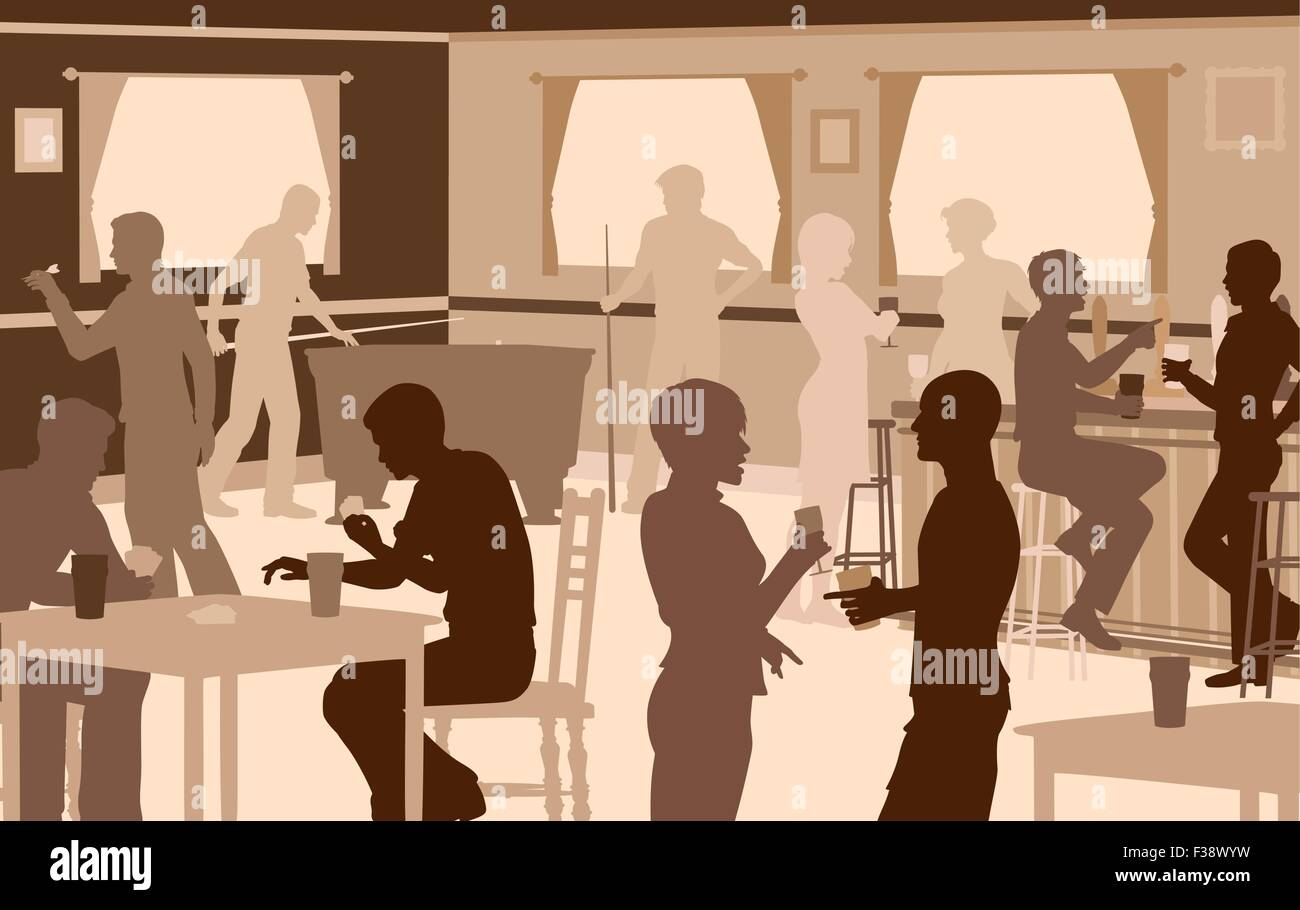 EPS8 editable vector cutout illustration of people drinking in a busy bar with typical pub games - Stock Image