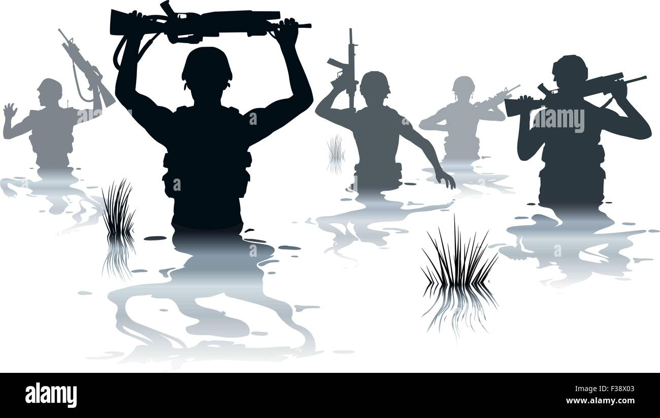 EPS8 editable vector illustration of soldiers on patrol wading through water - Stock Image