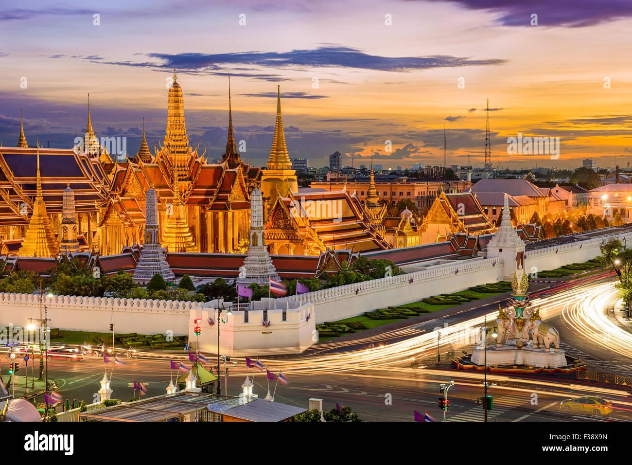 Bangkok, Thailand at the Temple of the Emerald Buddha and Grand Palace. - Stock Image