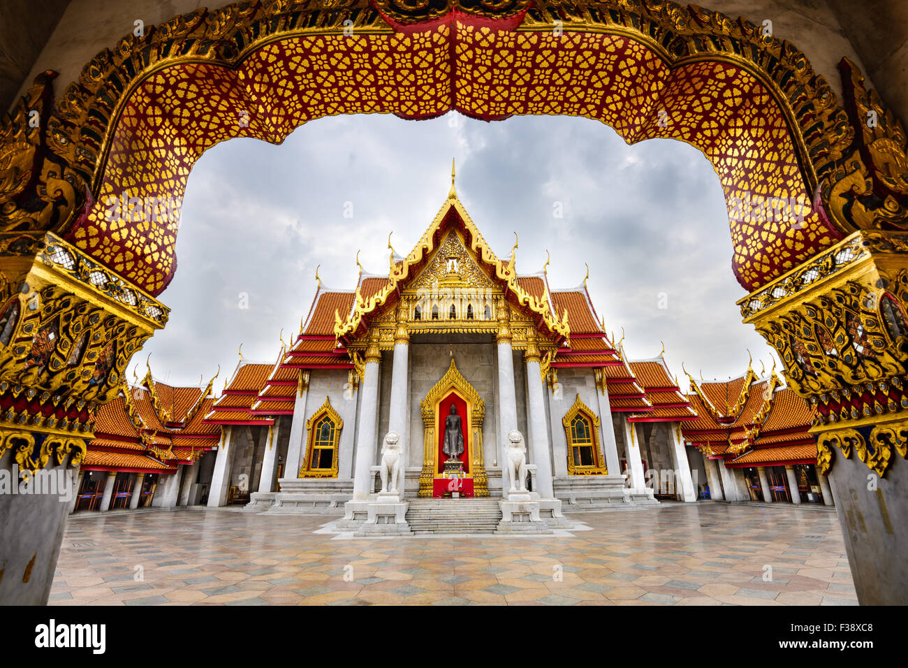 Wat Benchamabophit, the Marble Temple, in Bangkok, Thailand. - Stock Image