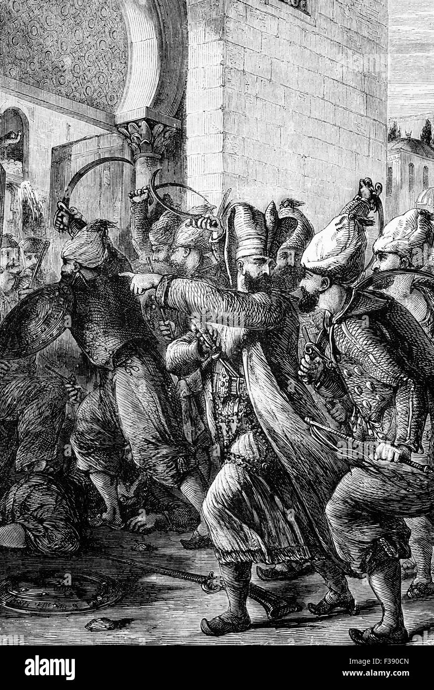 The attack 1807 on the Seraglio and Palace in Constantinople by the Chief Black Eunuch named Nezir Ağa and his men, Stock Photo