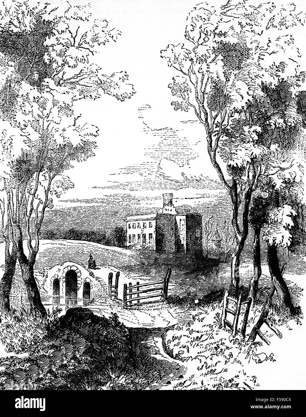 19th Century view od Dangan Castle, near Trim in County Meath, Ireland, the birth place of Field Marshal Arthur - Stock Image
