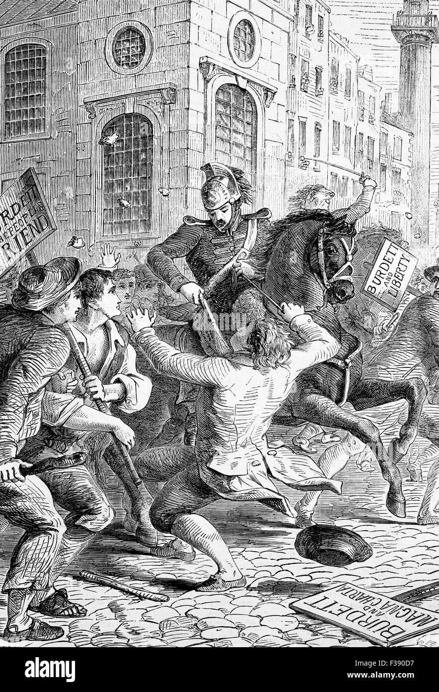 Riots following the arrest of Francis Burdett in 1810 for a breach of parliamentary privilege, known for his demands - Stock Image