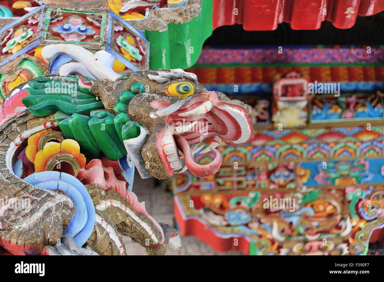 Colorful Dragon in Temple at China - Stock Image