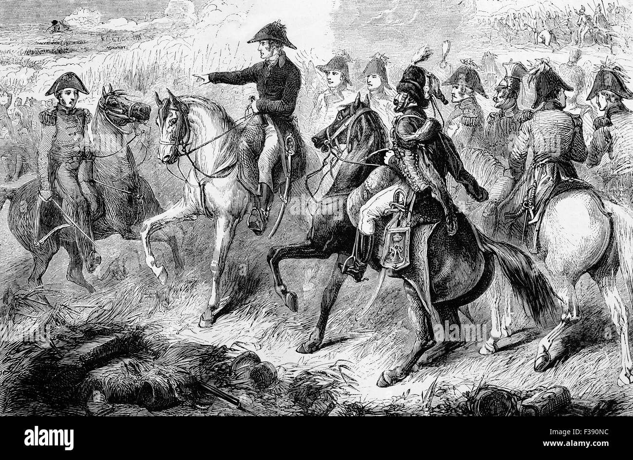 The Duke of Wellington during the Battle of Waterloo. The battle  was fought on Sunday, 18 June 1815, near Waterloo - Stock Image