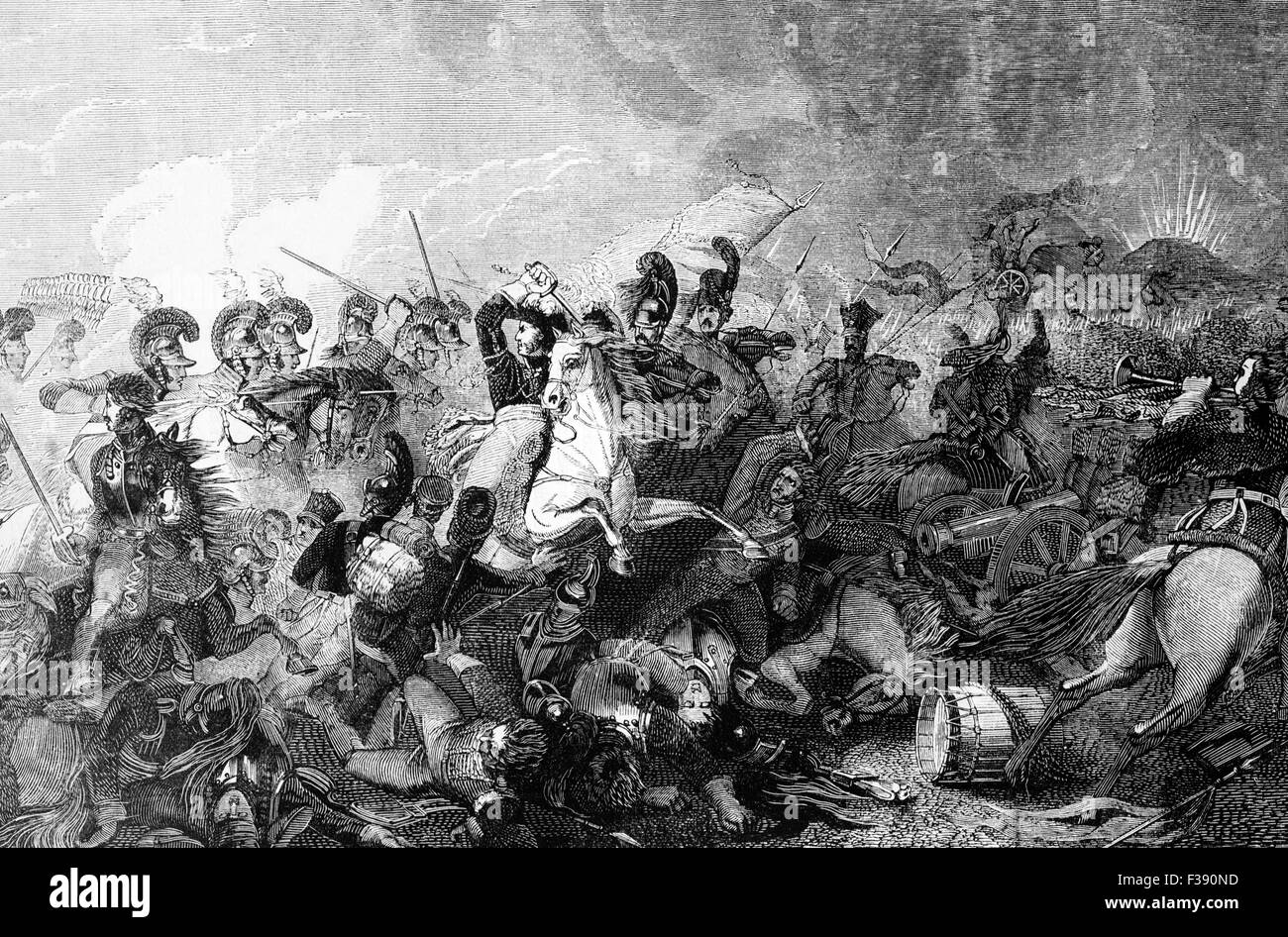 The charge of Lord Somerset's Heavy Brigade during the Battle of Waterloo that led to the rout of the French - Stock Image