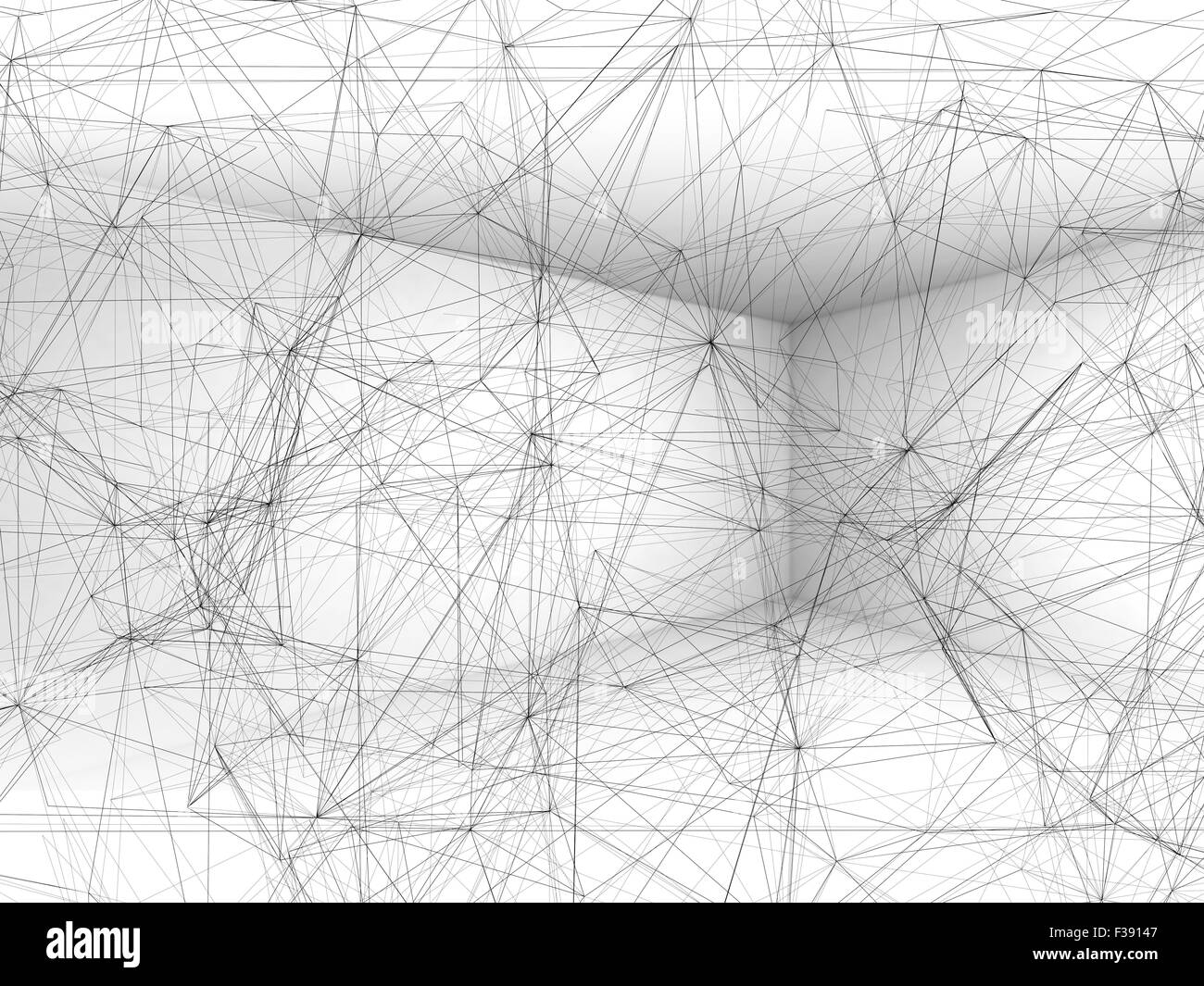 Abstract digital background with wire-frame polygonal mesh in white ...