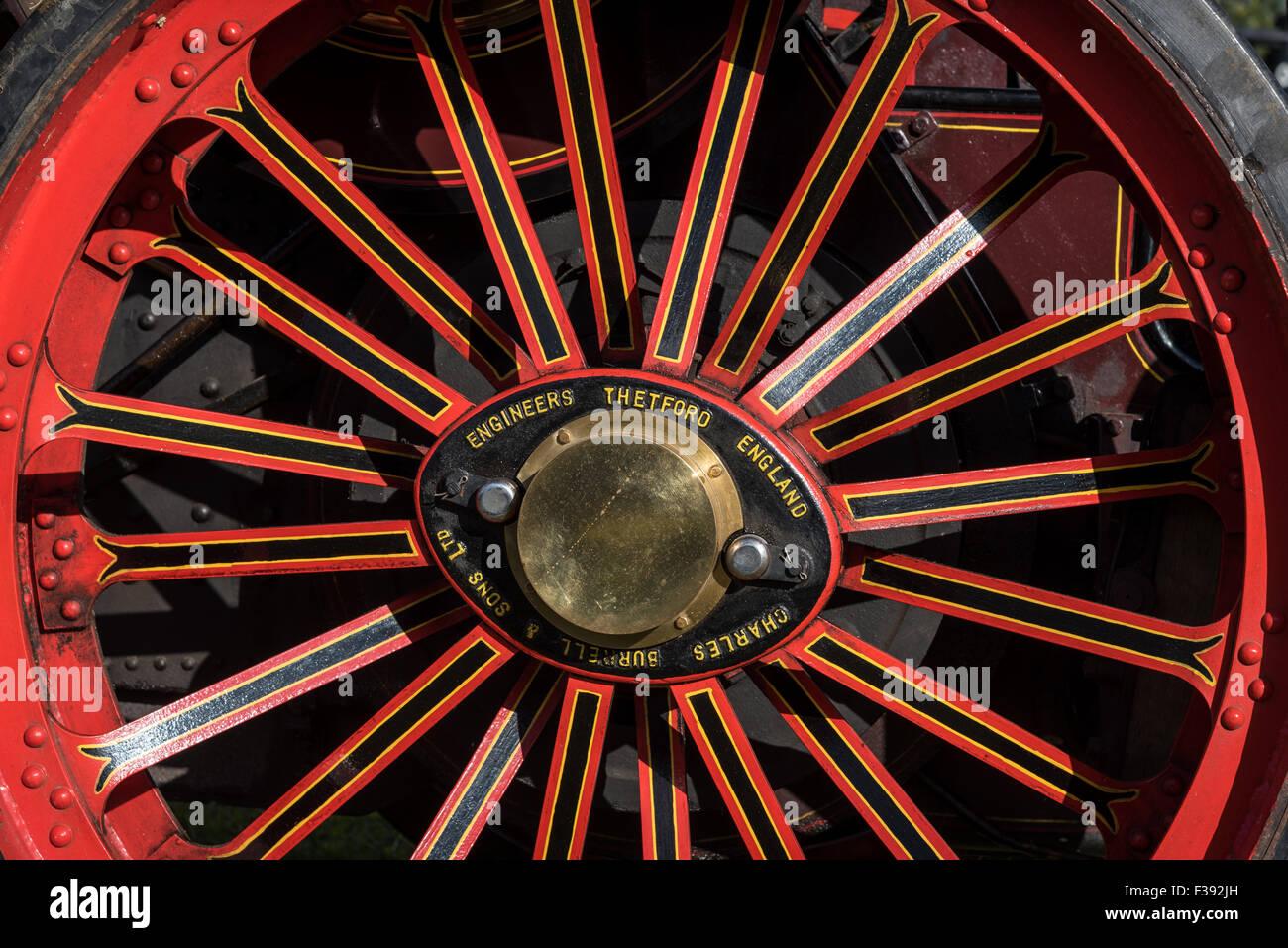 Vintage Steam Traction Locomotive Wheel - Stock Image