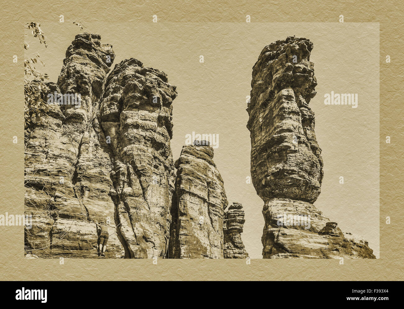 Pillars of Hercules are two bizarre, free-standing rock towers in Rosenthal Bielatal, Saxon Switzerland, Saxony, - Stock Image