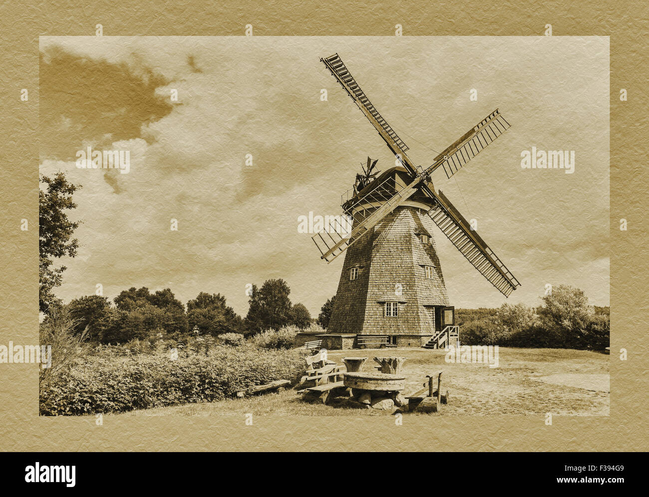 Dutch windmill from the 19th century, Benz, Usedom Island, Mecklenburg-Western Pomerania, Germany, Europe - Stock Image