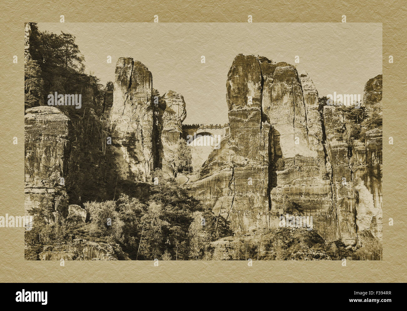 Spectacular rock formation Bastei (Bastion), most visited tourist attraction in the Saxon Switzerland, Rathen, Saxony, - Stock Image