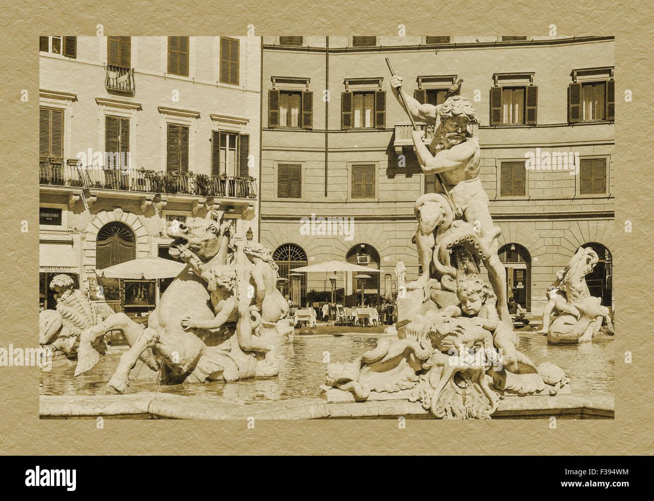 Fountain of Neptune Fontana del Nettuno, Piazza Navona, Rome, Lazio, Italy, Europe - Stock Image