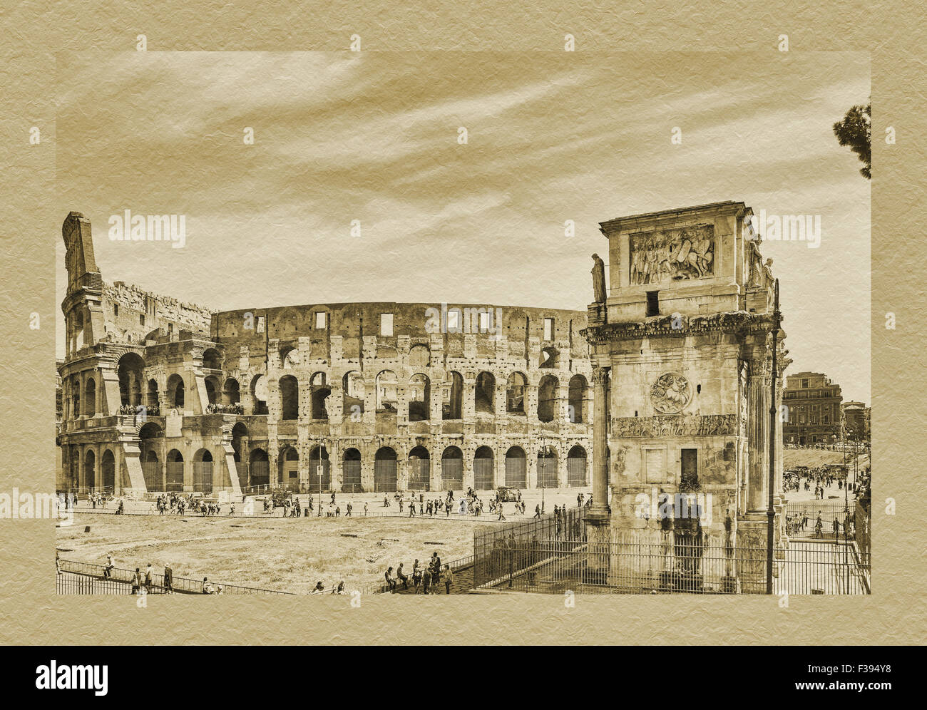The Colosseum is the largest amphitheater. The Arch of Constantine is located in front of the Colosseum, Rome, Lazio, Stock Photo