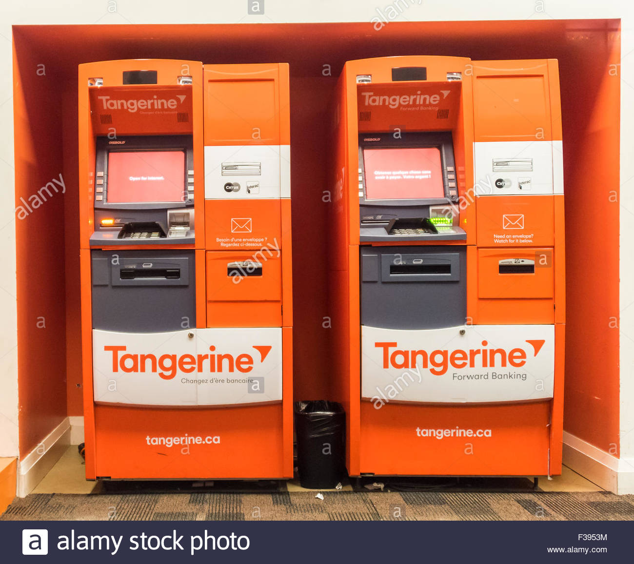 Two automated banking machines in orange colour of Tangerine