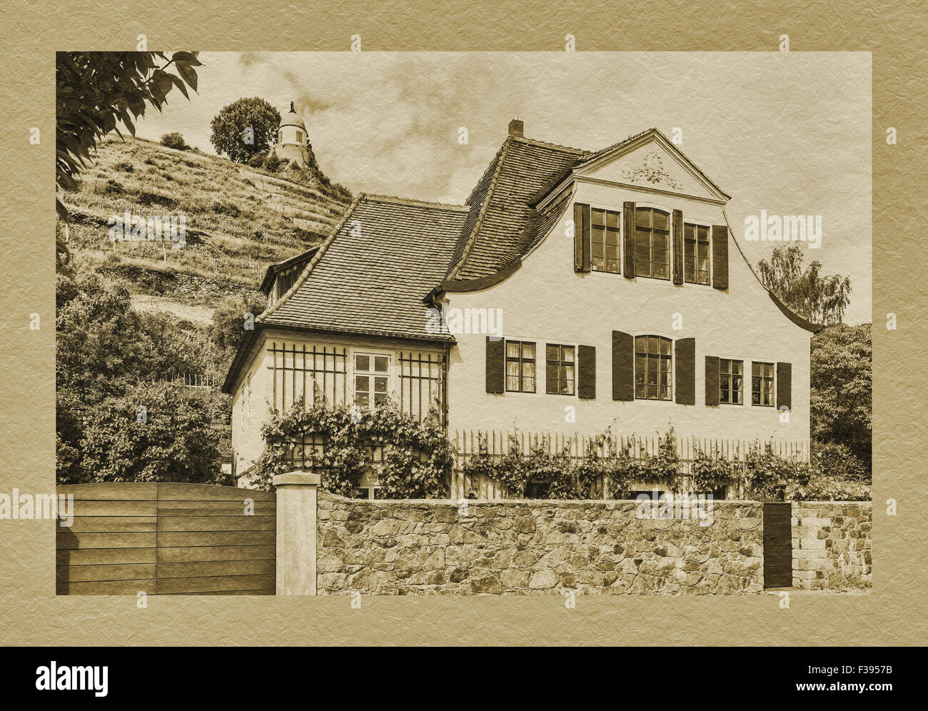 House Fliegenwedel, Am Jacobstein 40, is a listed building and Baroque winegrower's House, Radebeul, Saxony, Germany, Stock Photo