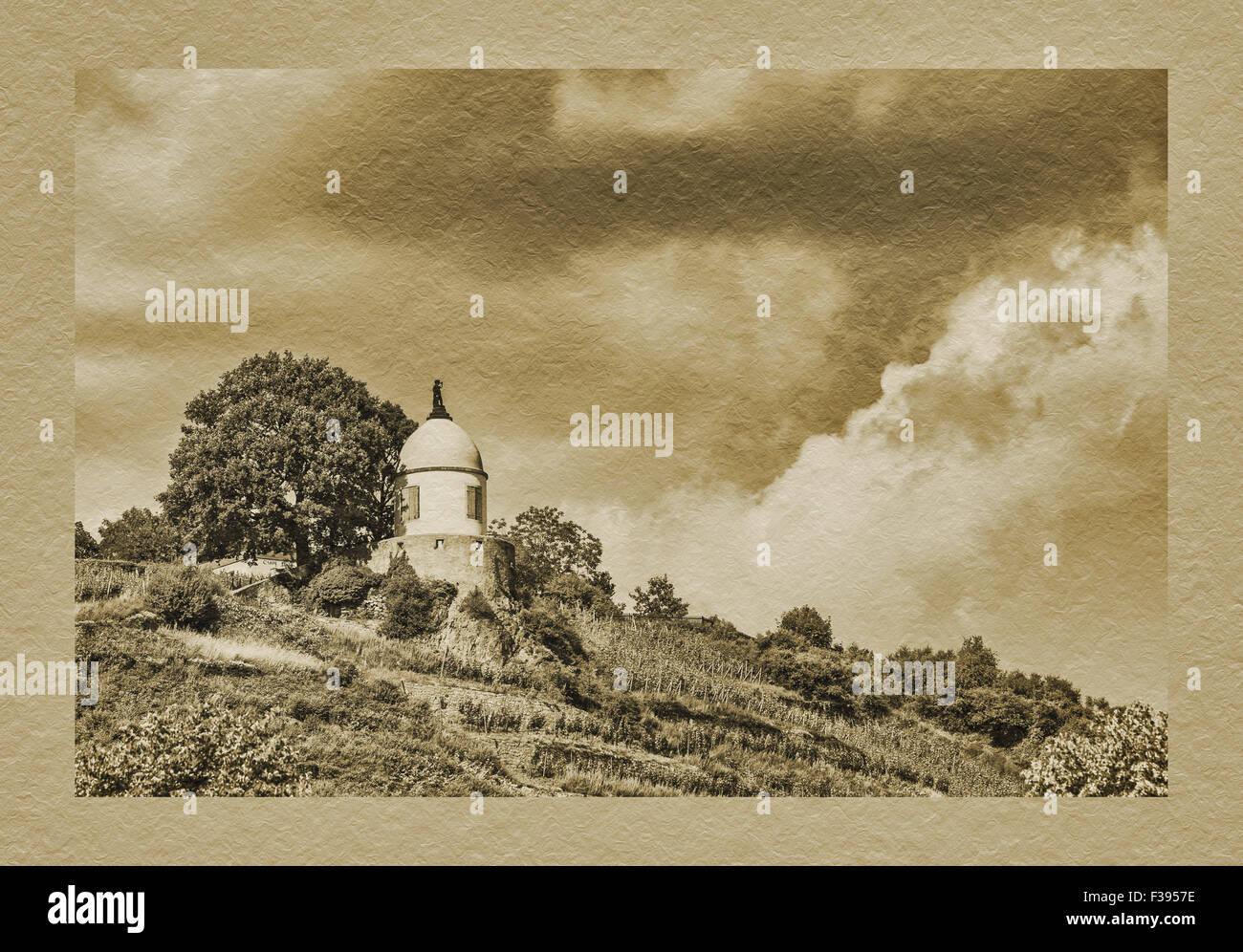 The Jacobstein is a vineyard gazebo in Radebeul above Castle Wackerbarth, Radebeul near Dresden, Saxony, Germany, Stock Photo