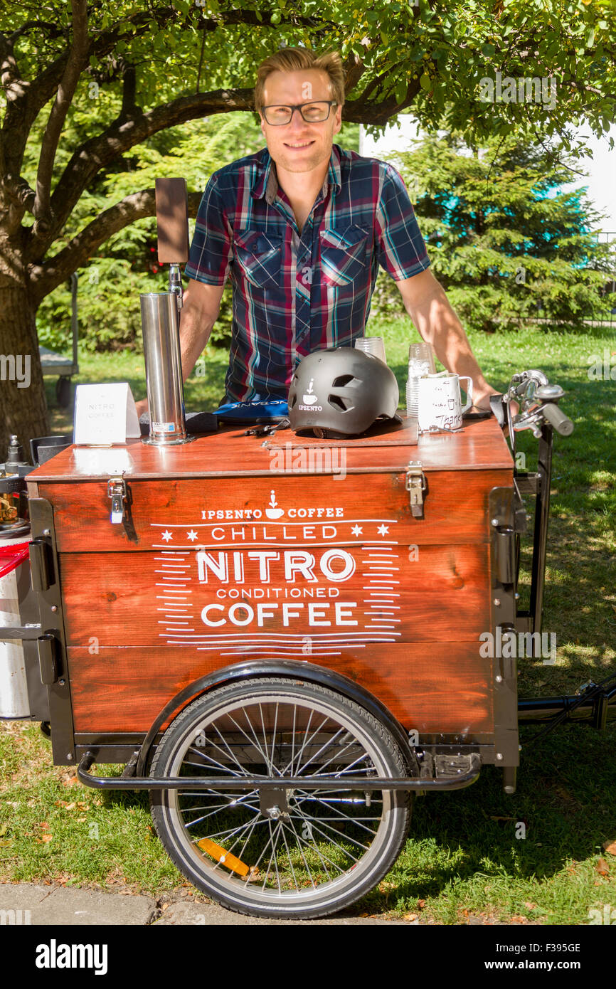 Nitro chilled coffee stand at a farmers market in Wicker Park August 2, 2015 in Chicago, Illinois, USA - Stock Image