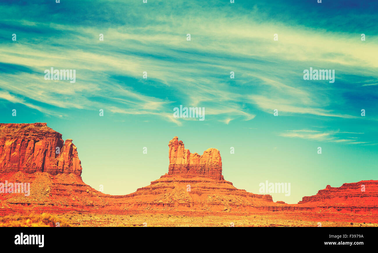 Retro old film style rock formations in Monument Valley, Utah, USA. - Stock Image