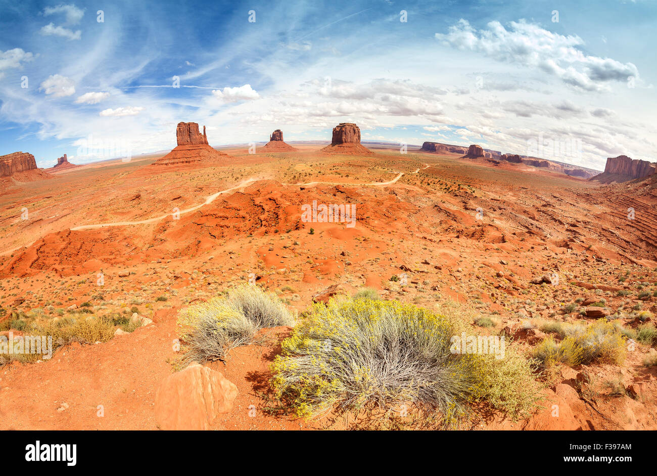 Fisheye lens view of the Monument Valley, Utah, USA. - Stock Image