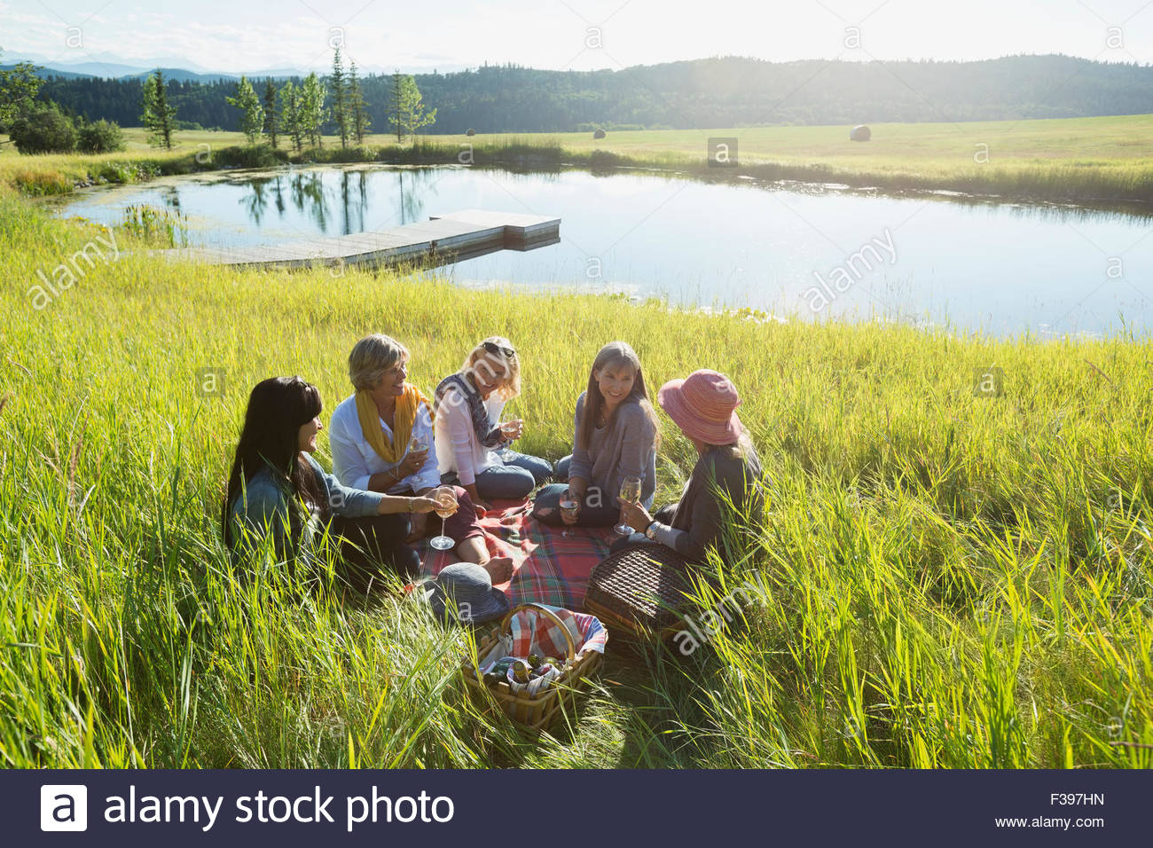 Women enjoying picnic in sunny field near lake - Stock Image