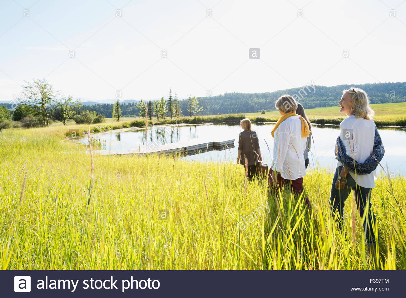 Women walking in grass near sunny lake - Stock Image