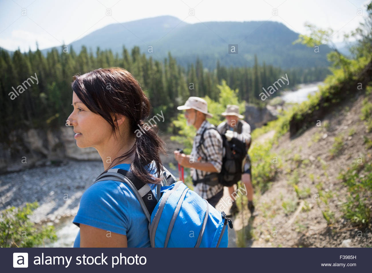 Hikers looking at view - Stock Image