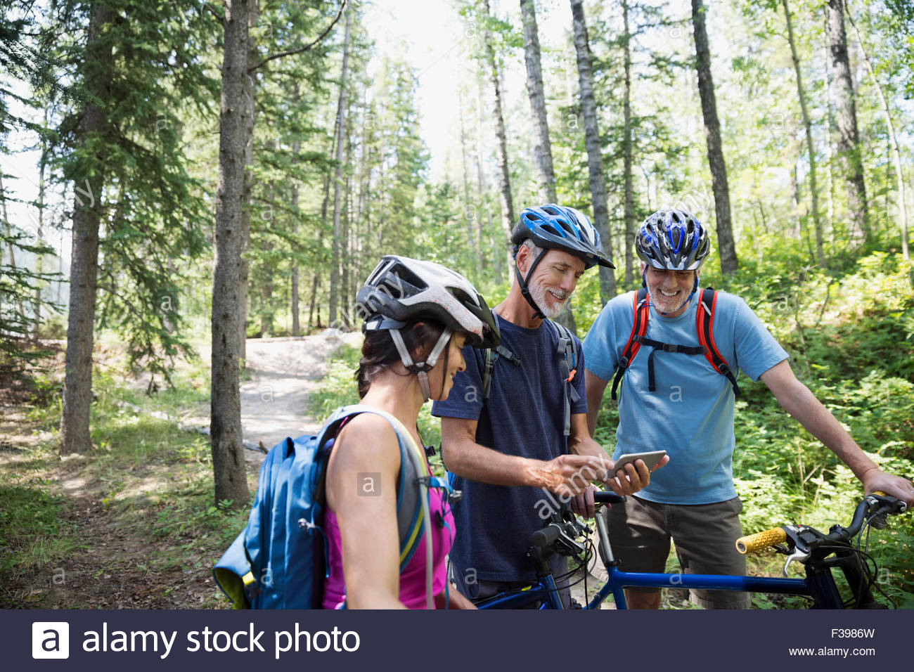 Friends mountain bike checking cell phone in woods - Stock Image