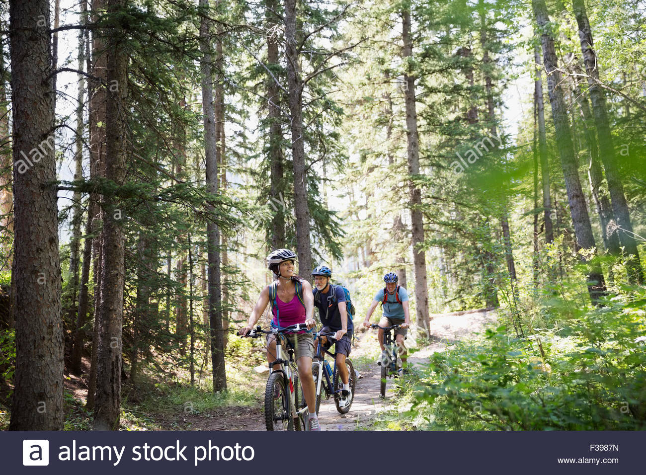 Friends mountain biking on trail in woods - Stock Image