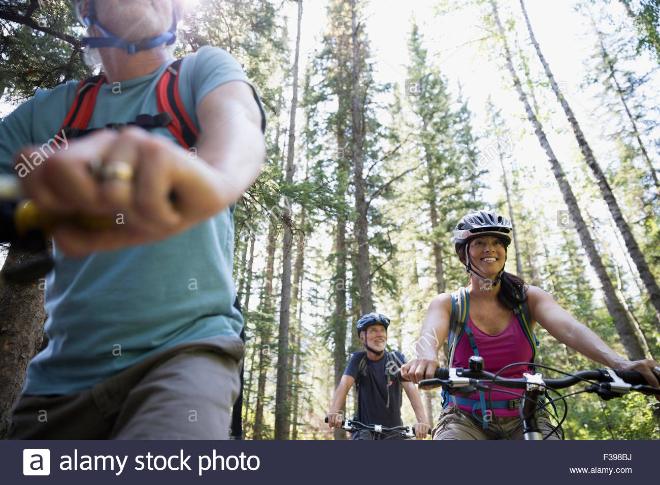 Friends mountain biking below trees in woods - Stock Image