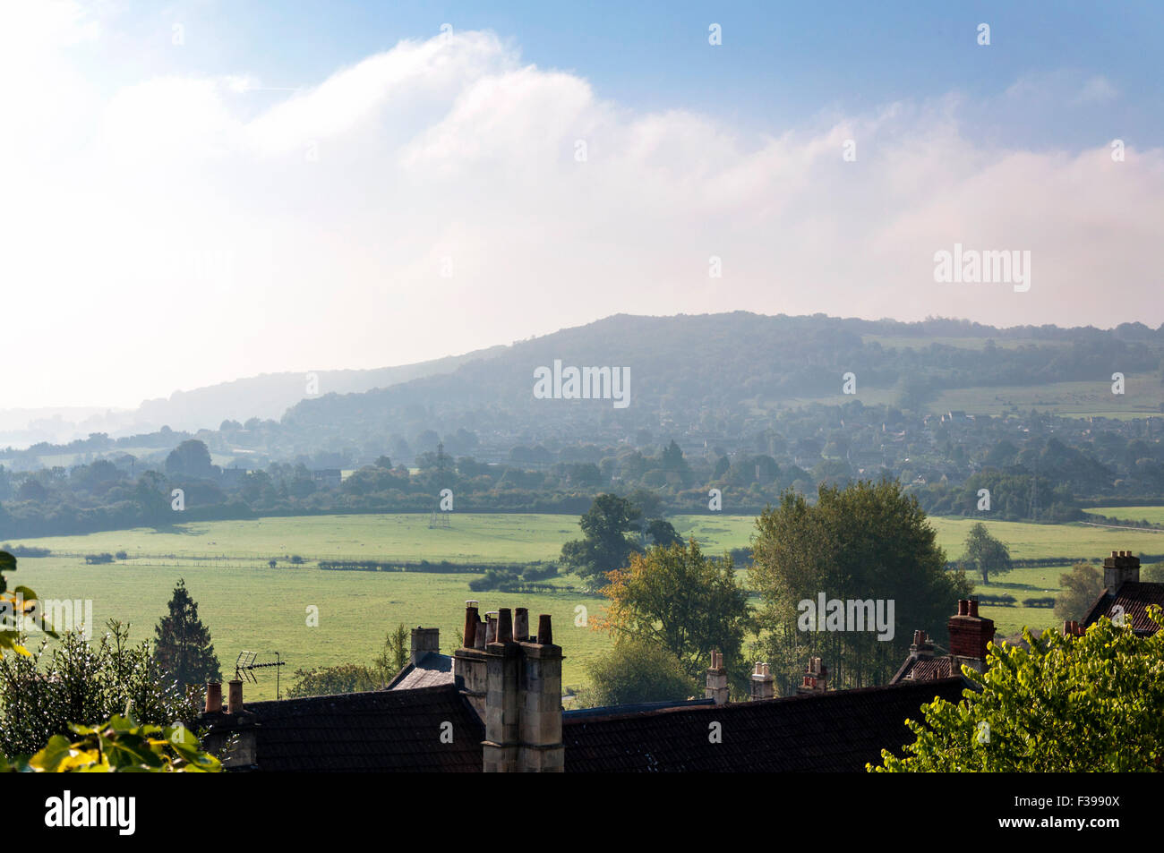 Bathampton, Somerset, UK. 2nd October, 2015.  A view across Bathampton water meadows - left to right in centre. - Stock Image