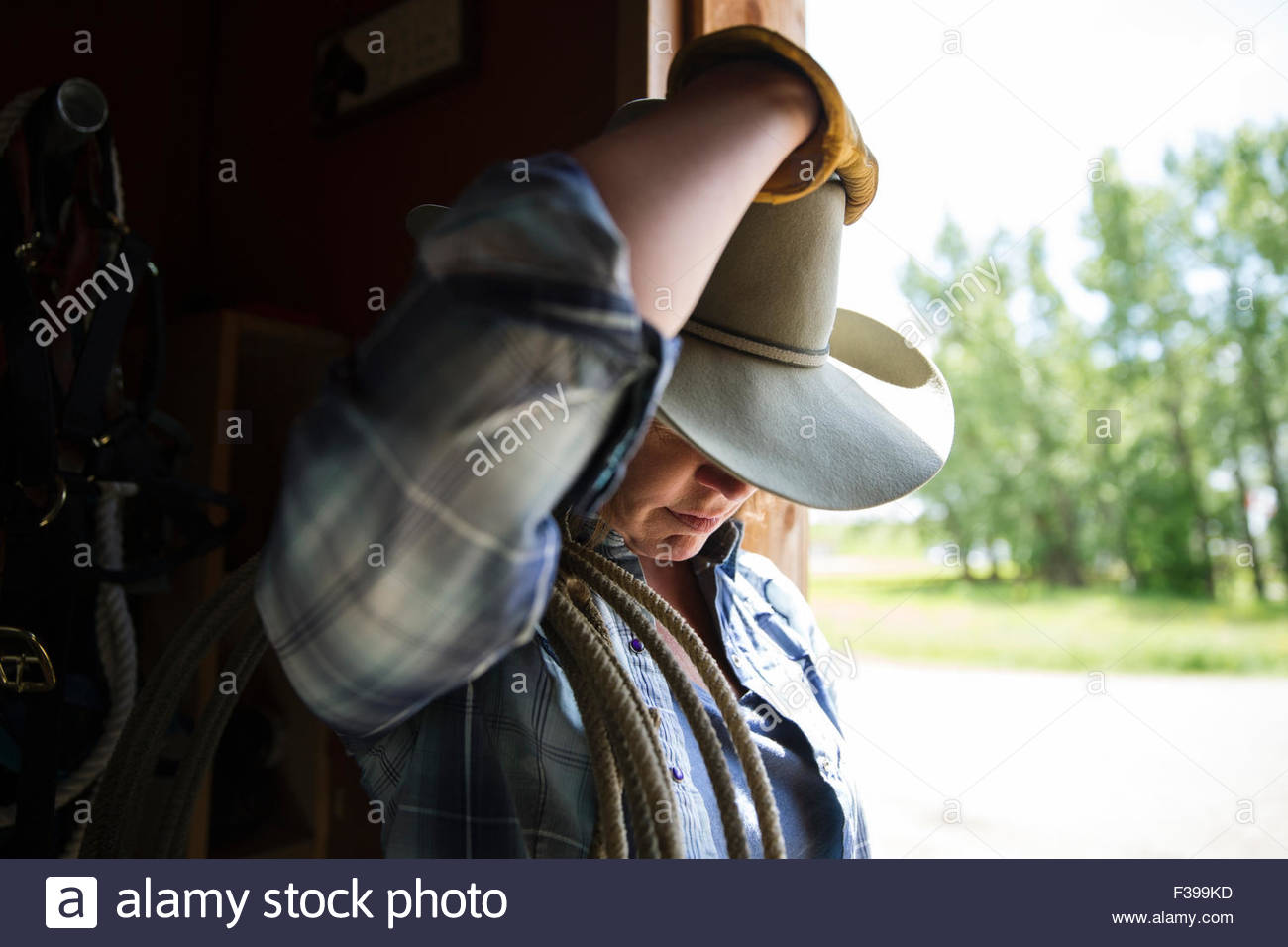 d544a8d24707d Female rancher in cowboy hat looking down in doorway Stock Photo ...