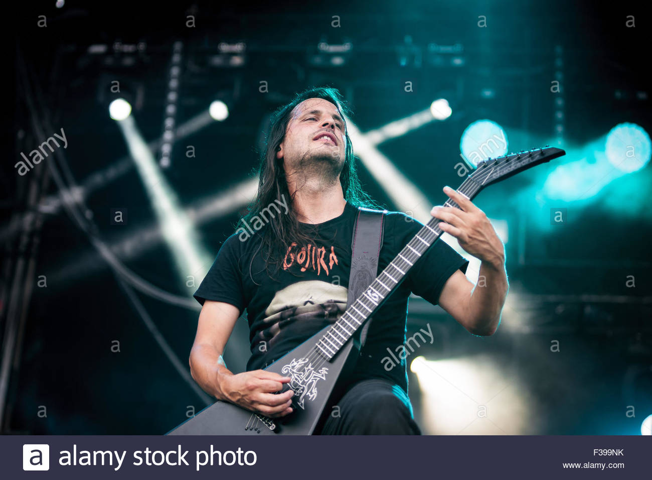 Heavy Metal band Gojira performing live : guitar player Christian Andreu Stock Photo