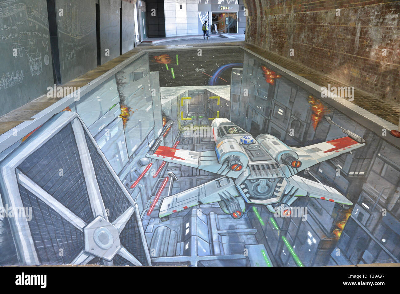 Star Wars Rise Against The Empire game promotion death star trench art Southwark Bridge - Stock Image
