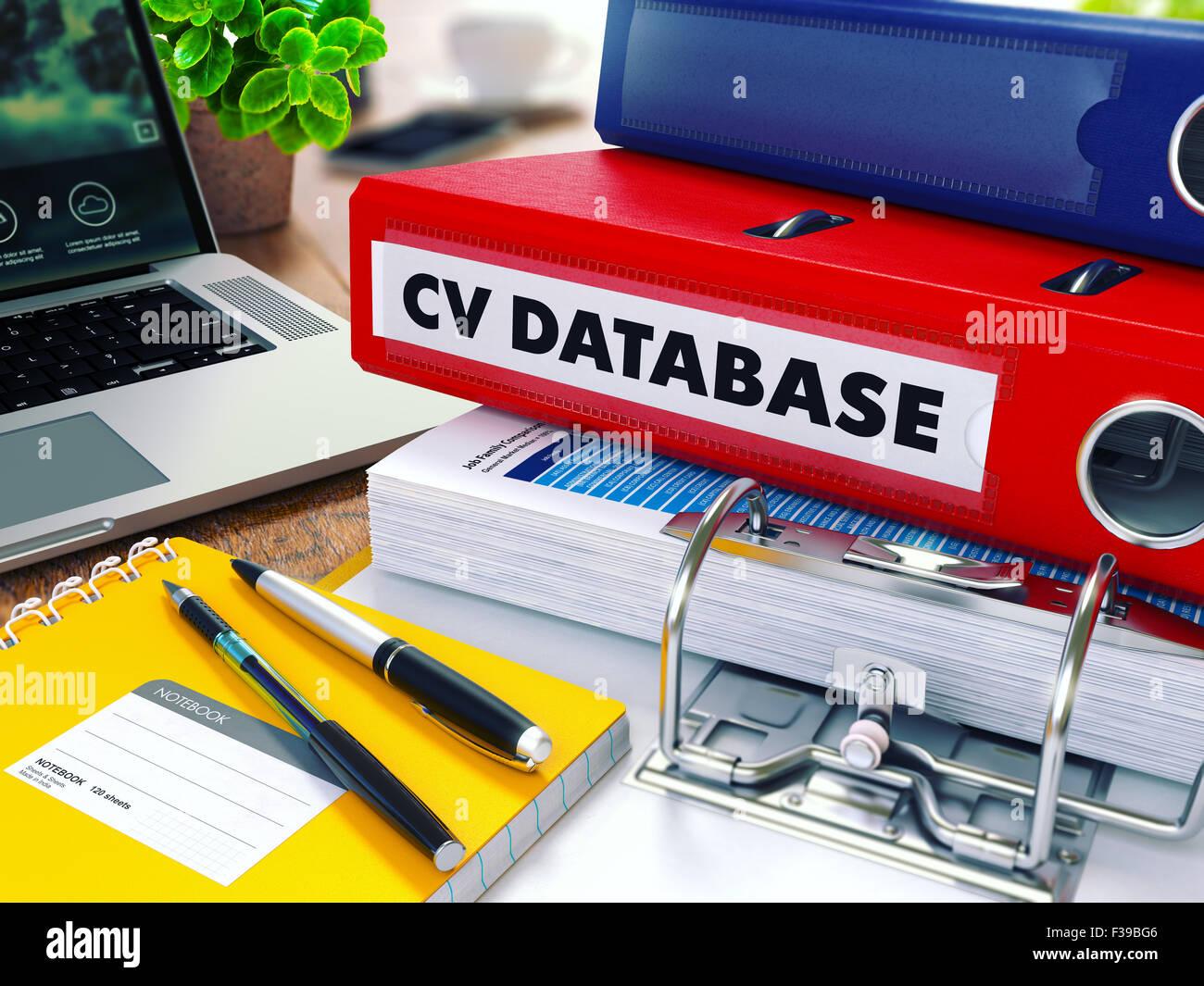 cv database CV Database   Red Ring Binder on Office Desktop with Office