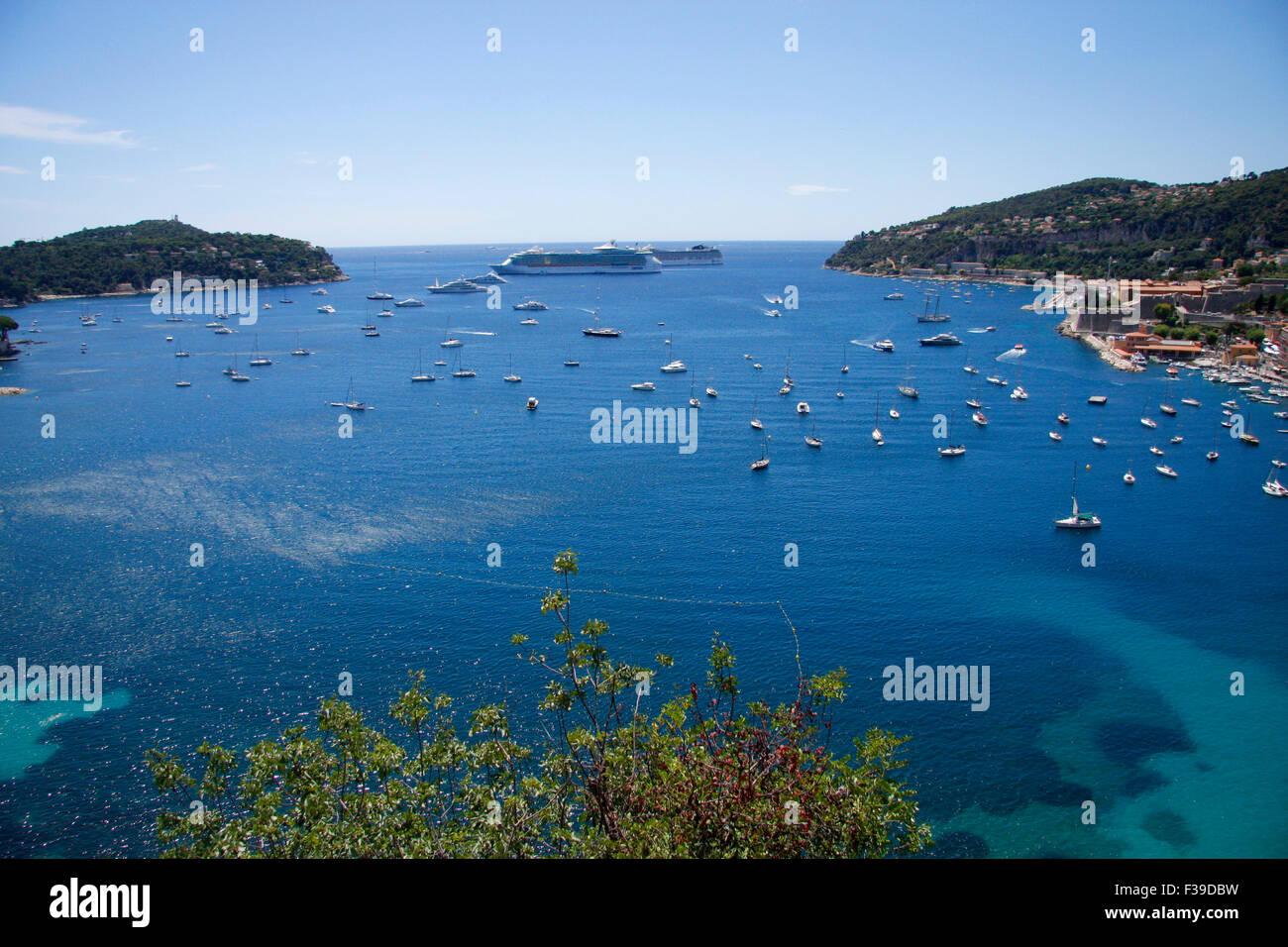 Villefranche sur Mer, Bucht, Mittelmeer, Cote d'Azur, Frankreich. - Stock Image