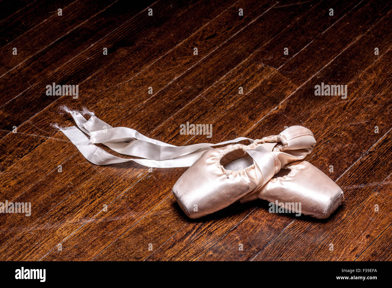 Worn in Pointe Shoes - Stock Image