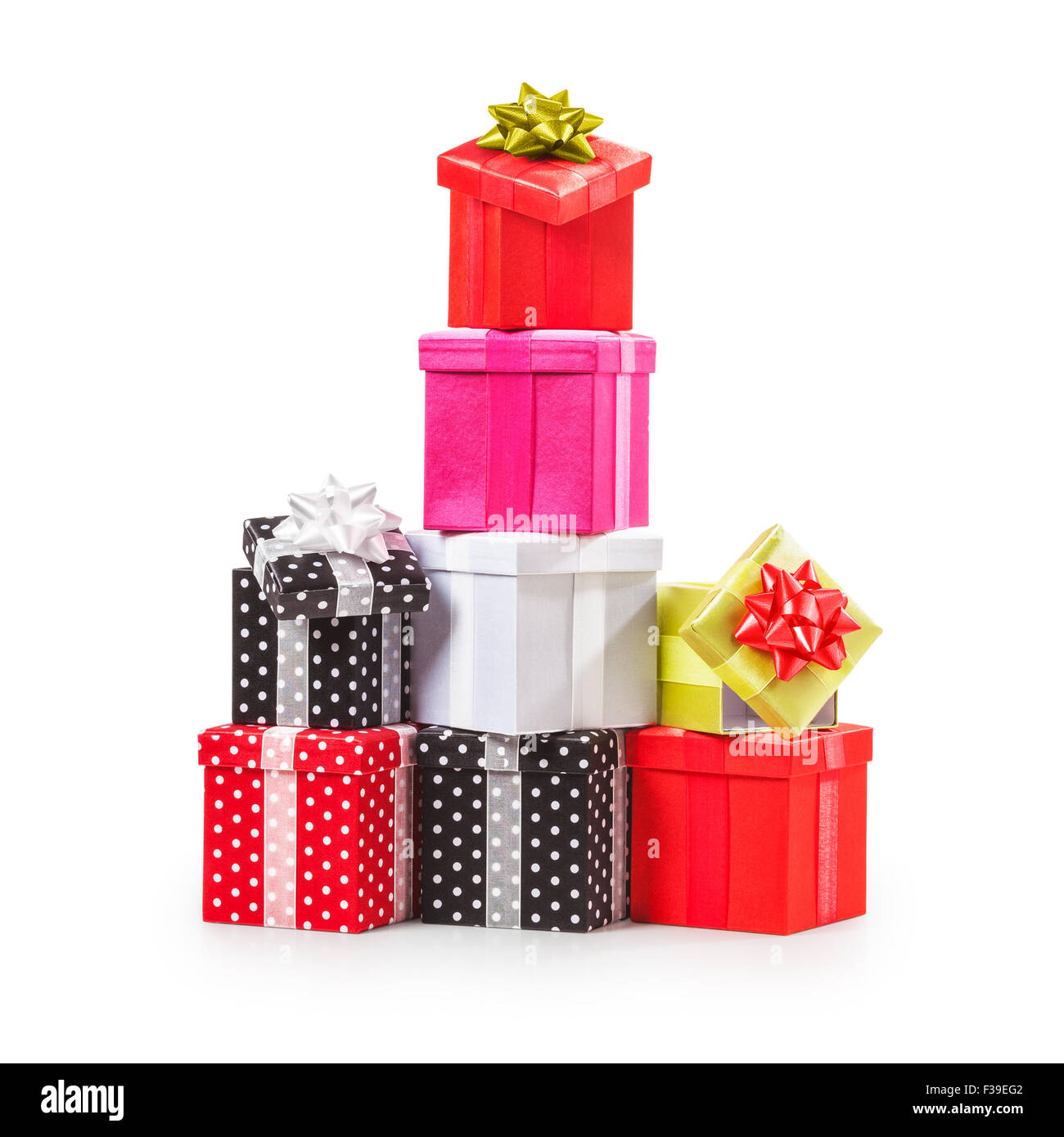 Stacked gift boxes with ribbon bow. Christmas present. Croup of ...