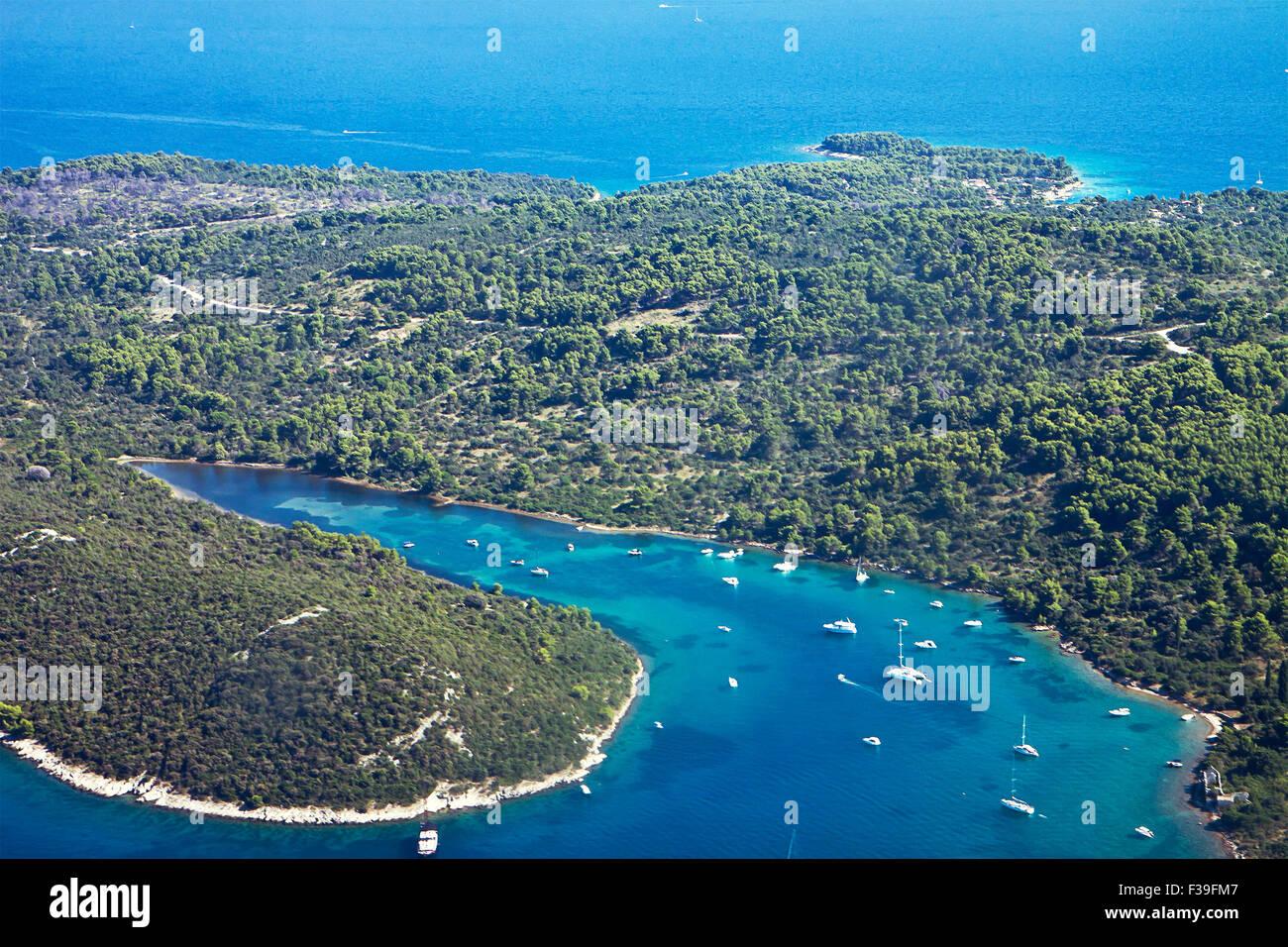 beautiful aerial view of the Dalmatian coast of Croatia near Split airport - Stock Image